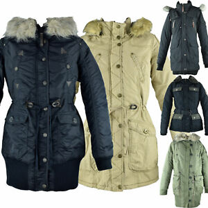 Damen Winter Jacke Parka Anorak A Form Trenchcoat Kapuze Kragen Fell