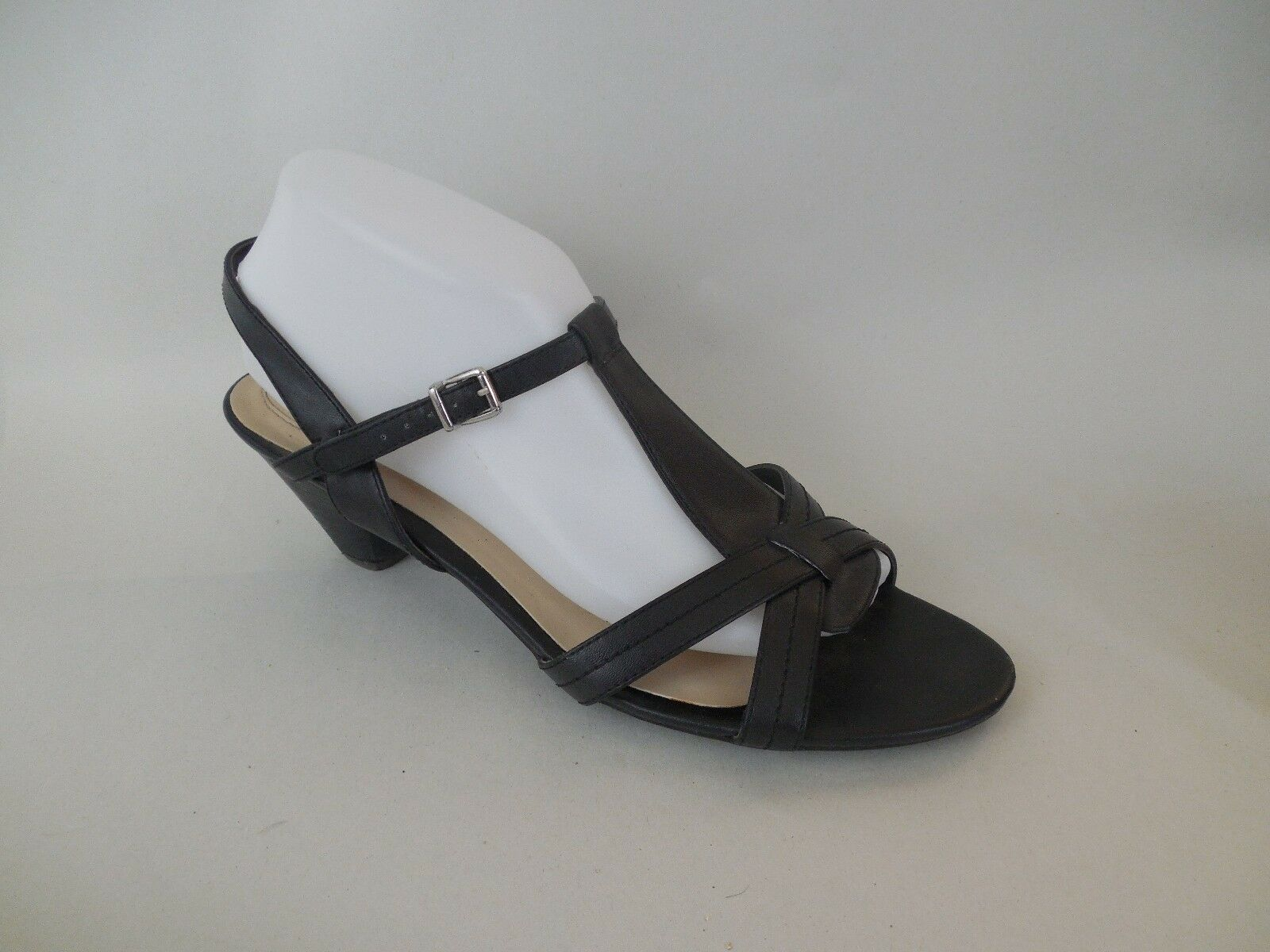 NICKELS CLAUDIA Black Strappy Sandals 2 Heel Comfort Sole Size 10 M Ankle Strap