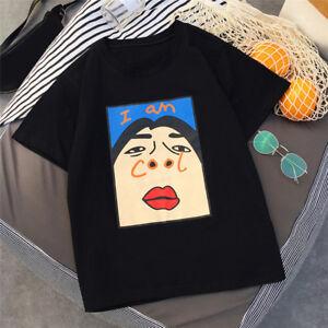 Womens-Print-Funny-T-Shirt-Tee-034-I-am-cool-034-Short-Sleeve-Cotton-Harajuku-T-shirt