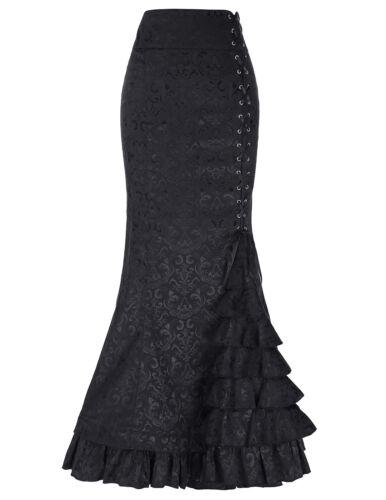 Retro Gothic Viktorianischen Steampunk Lang Korsett Kleid Fishtail Vintage Rock