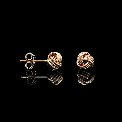 14k Yellow Gold Love Knot Earrings Designer Style Ball Studs 4mm