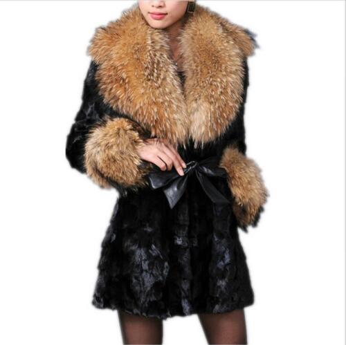 Fur Outwear Loose Warm Punk 66 Plus Kvinderjakke Sz Collar Big Coat Overcoat nWwY0f