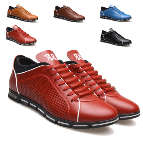 New Fashion Solid Man Casual Shoes Spring Summer Lace-up Style Pu Leather Flats