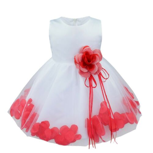 Kids Petals Flower Girl Dress Wedding Pageant Bridesmaid Formal Party Ball Gown