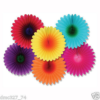 6 LUAU Summer Tropical Party Hanging Decoration MINI Colorful TISSUE FLOWER FANS