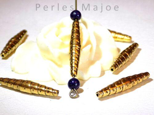 10 x perles forme navette décorées couleur or antique dimensions 25 x 5 mm