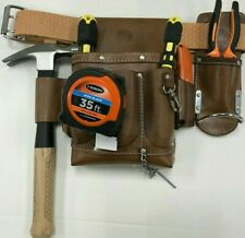 10 pkt Electrician Tool Bag Pouch Oil Tanned Leather Top Grain Embossed Belt