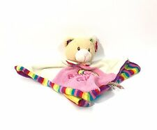 keel toys Lovey baby girl security toy bear reversible rainbow stripes square