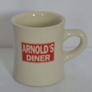 Arnolds-Diner-Resturant-Mug-Coffee-Cup-Advertising-Red-White-Stoneware-Heavy