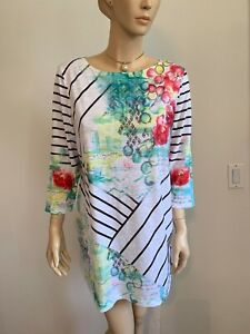 CHICO-039-S-SIZE-2-L-ZENERGY-WHITE-MULTI-ABSTRACT-FLORAL-STRIPE-3-4-SLV-TUNIC-TOP