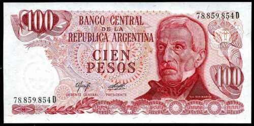 ARGENTINA  100 PESOS 1976-1978  Serie D P 302b    Uncirculated Banknotes
