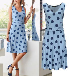 genial-Kleid-Gr-36-38-Sommerkleid-Jerseykleid-Shirtkleid-BLAU-TUPFEN-Guertel-Look