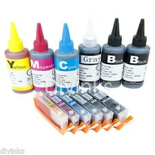 6 COLOR Refillable Ink Cartridge KIT For Canon PGI-250 CLI-251 PIXMA MG6320