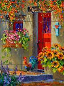 Southwest-Rooster-Tile-Mural-Senkarik-Floral-Art-Ceramic-Backsplash-MSA225