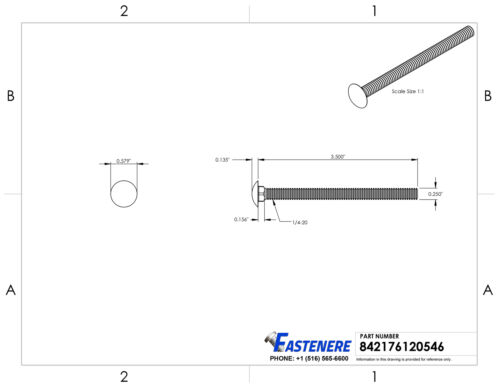 """1//4-20 X 3-1//2/"""" Carriage Bolts Stainless Steel 18-8 Round Head Qty 10"""