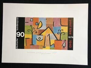 Almir Mavignier, francobollo Paul trifoglio, la stampa offset, 1979, firmato e datato