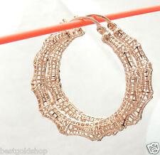 "1.50"" Technibond Bamboo Filigree Hoop Earrings 14K Rose Pink Gold Clad Silver"