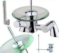 Bath Shower Or Basin Mixer Or Tap Set Choice Glass Waterfall Bathroom
