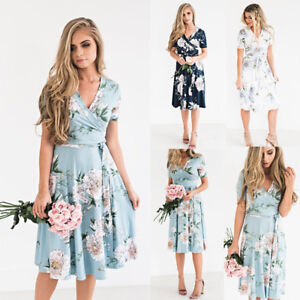 authentic quality clear-cut texture official sale Details about Womens Ladies Floral Long Maxi Dress Short Sleeve Party  Summer Beach Sundress