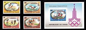 CHAD 1980 SUMMER OLYMPIC GAMES MOSCOW MNH MI. 867-870B BL78B NOT PERFORATED.