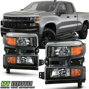 2019-2020 Chevy Silverado 1500 Halogen w/o LED Headlights Headlamps Left+Right