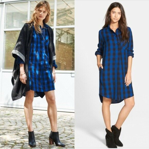 Madewell Latitude Jane Shirt Dress Tunic Buffalo Check Plaid Blau schwarz S Small