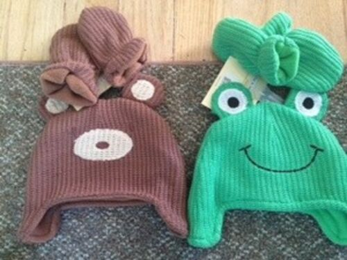 Lovespun Childrens Hats /& Mittens Set 2 Frog /& Bear NWT Size 6-12 Months Fleece