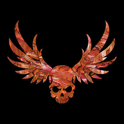 Winged Skull ( Abalone Red ) Cool Inlay Sticker Decal For Guitar & Bass