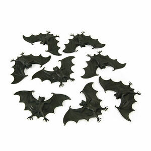 Black-Scary-Stuff-Bats-Pack-of-8-Halloween-Fancy-Dress-Party-Decoration-Props