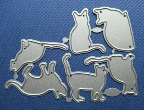 NEW Set of 6 Cat Kitten Silhouette Metal Craft Cutting Dies FREE P/&P UK SELLER