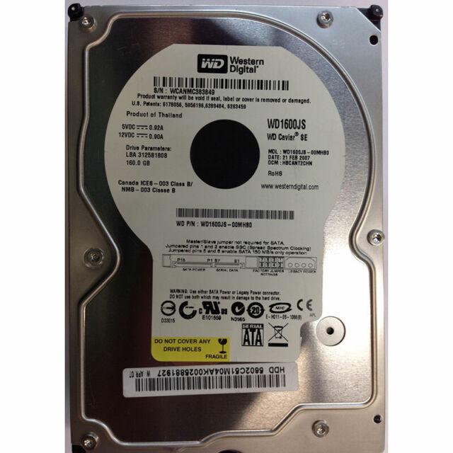 Western Digital 160GB, 7200RPM, SATA - WD1600JS-00MHB0