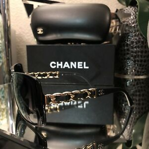 6f43e04c063b Image is loading Chanel-Sunglasses-5208-Q-Black-Leather-Gold-Chain-