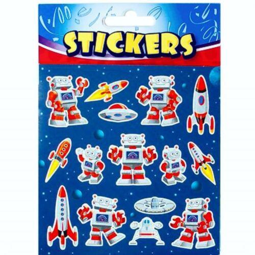 Party Loot Bag Fillers Space Robot Sticker Sheet Reward Chart