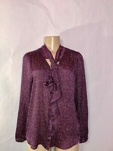 NYC-NEW-YORK-amp-CO-PURPLE-PRINT-LONG-SLEEVE-TIE-AT-NECK-POLY-CREPE-BLOUSE-L