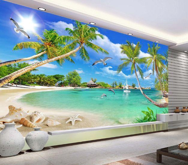 3D Seestern, Seevögel 78 Fototapeten Wandbild Fototapete BildTapete Familie