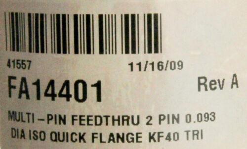 10062 OEM FEEDTHRU 2 PIN 0.093 DIA ISO QUICK FLANGE KF40 FA14401