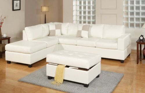 Bonded Leather White Modern Reversible Sectional Couch Set Sofa Chaise Ottoman
