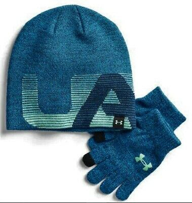 UNDER ARMOUR YOUTH BOYS 4-20 BEANIE /& GLOVES SET STEEL GRAY   MSRP $30