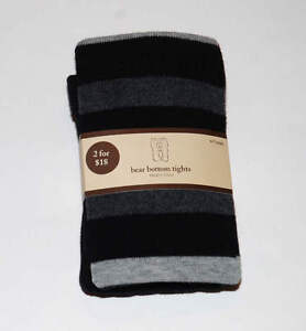 7624260aa NWT Baby Gap DEAUVILLE Bear Bottom Black Gray Striped Tights Size 4 ...