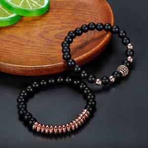 2-Pcs-Set-Men-039-s-Natural-Stone-Matte-Black-Charm-Copper-Bead-Bracelets-Gifts-New