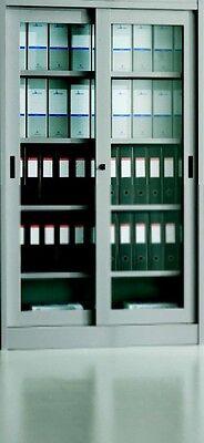 Armadio Ufficio archivio metallo ante vetro scorrevoli 180x45x200 con serratura   eBay