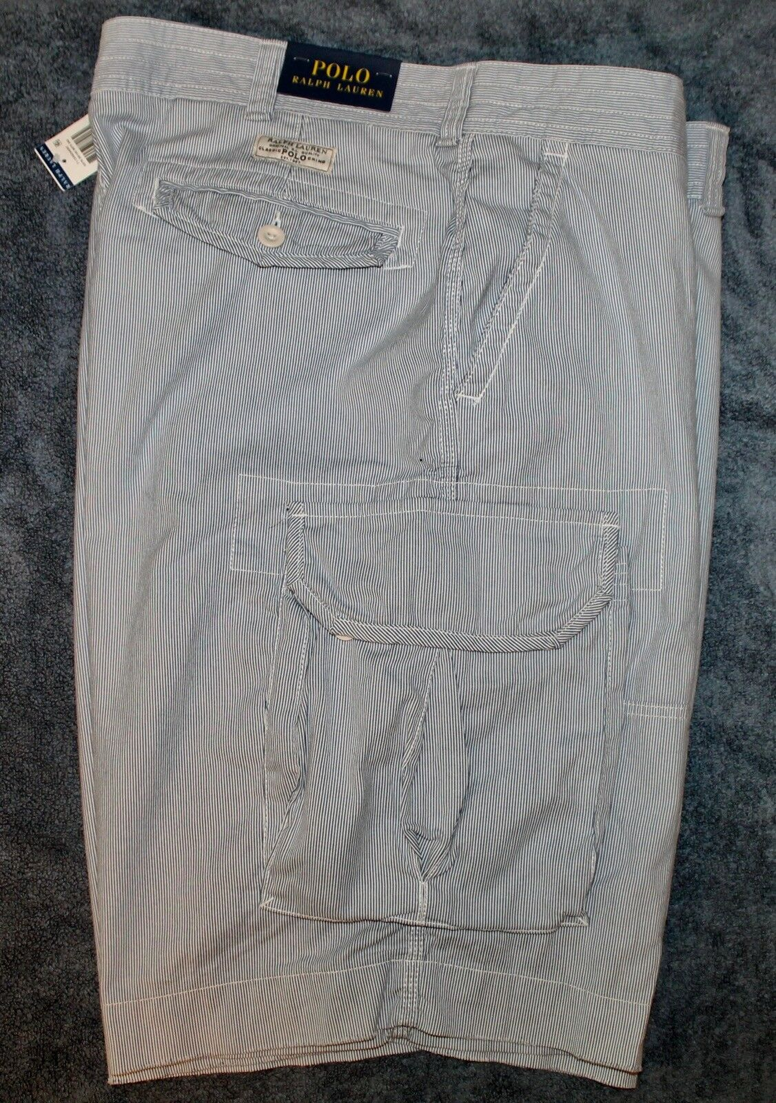 Polo Ralph Lauren Mens White bluee Striped Cotton Cargo Shorts NWT Waist 32