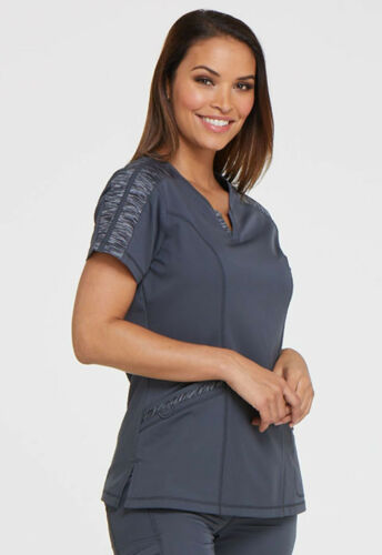 Pewter Dickies Scrubs Dynamix Shaped V Neck Top DK665 PWT
