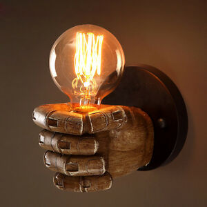 Retro 1-Light Clenched Fist Creative Indoor Wall Light & Exposed ...