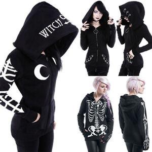 Halloween Womens Gothic Hooded Jumper Witch Punk Sweater Hoodie Sweatshirt Coat