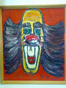 Gemaelde-Clown-Ol-Signiert-U-W-44-2-x-51-4-cm-Painting-Bild-LOOK