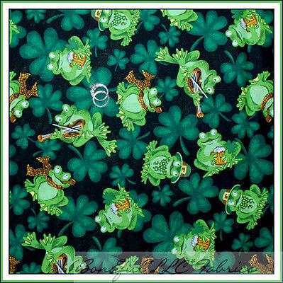 BonEful Fabric FQ Cotton Quilt Green FROG St Patricks Day Clover Shamrock Music