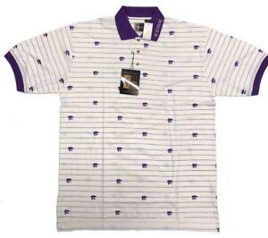 Kansas-State-Wildcats-ChiliWear-Men-039-s-Short-Sleeve-Polo-White-Purple-KSU-Shirt