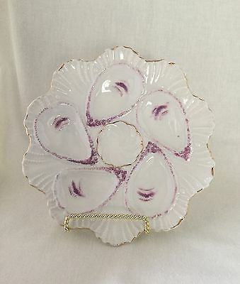 """Antique Oyster Plate 5 Well 8 1/2"""" White, Purple & Gilt.                  #762"""