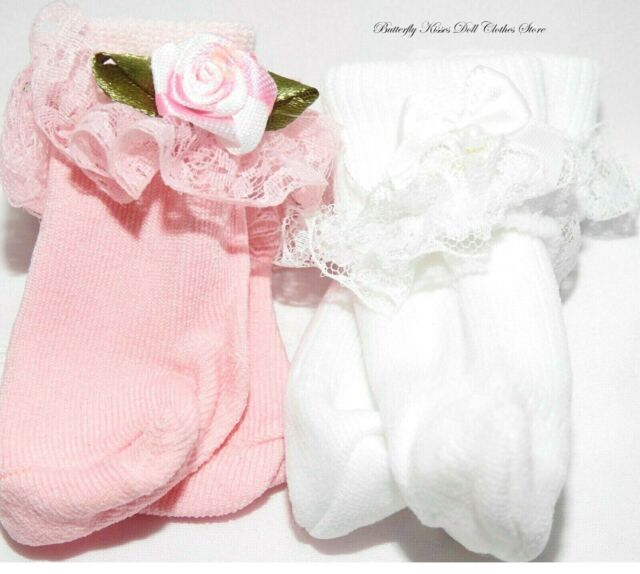 """Doll Clothes fits 18/"""" American Girl Lace Socks w// Peach Rosebuds"""